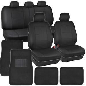 PU Leather Car Seat Covers & Carpet Floor Mats Set Full Interior Auto Truck SUV