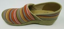 DANSKO WOMEN'S JUTE PRO MULTI-COLOR STRIPE NON-SLIP CLOGS SIZE 40, US 9.5/10