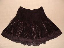 Hot Options brown velvet skirt with lace trim  size 12
