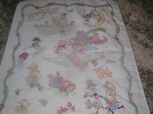 """NEW Hand Embroidered Baby Crib Quilt Nursery Rhymes 42 """" X 32 """""""