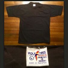 Vintage 80s 1980s Blank T-Shirt Black Poly Tees Small Faded Surf Skate Cotton