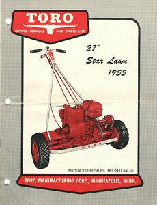 """VINTAGE 1955 TORO 27"""" 'STAR LAWN' POWER REEL MOWER OWNER MANUAL & PARTS LIST!"""