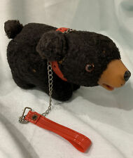 """Vintage Rubber Faced W Snout Black Bear 6"""" Collar Leash Plush Stuffed with Straw"""
