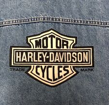Harley-Davidson Motorcycles Denim Nean Jacket Vest XL Embroidered Bar Shield ***