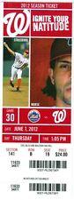 2012 Nationals vs Mets Ticket: Lucas Duda & Ryan Zimmerman HR/ R.A. Dickey Win