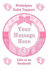 ND5 New Baby Girl birthday personalised round cake topper icing