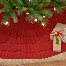 "FESTIVE RED BURLAP RUFFLED Tree Skirt 48"" Primitive Cotton Rustic Christmas VHC"