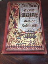 RARE JULES VERNE COLLECTION HETZEL A LA BANIERE ARGENTEE MATHIAS SANDORF 1885
