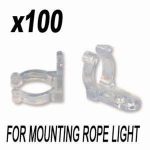 100PCS Clips Holder Hooks For Rope Light 11mm - 13mm Wall Mount & Bar Mount