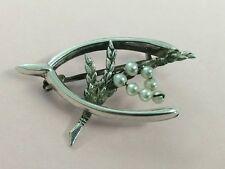 ANTIQUE STERLING SILVER LUCKY HEATHER WISHBONE BROOCH PIN 1920