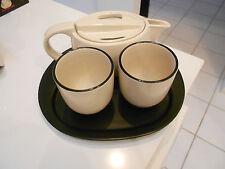 Tea Set (4) Pc. 2 Cups/Teapot/Base-Two Tone-Vg+ Condition