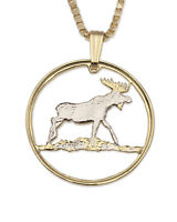 "Moose Pendant and Necklace, Hand Cut Moose Medallion, 1"" in Diameter, ( # 888 )"