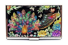 Mother of Pearl Metal Peacocks Business Name ID Card Case Money Cash Holder