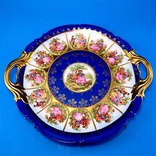 Large Rare Cobalt Love Story Fragonard JKW Carlsbad Bavaria Cake Plate