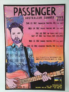 PASSENGER 2013 Australian Tour Poster A3 All The Little Lights Let Her Go ***NEW