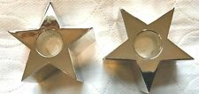 Set of 2 Silver Plated Star Shaped Candle Holders