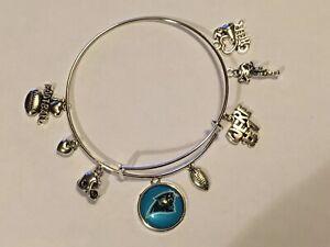 Carolina Panthers 8 Charm Logo Bracelet Jewelry Silver Helmet Football 🏈