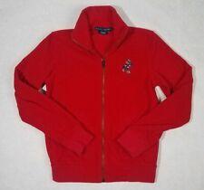 Vintage POLO RALPH LAUREN Red Full Zip Fleece Polo Bear Ice Skater womens XS EUC