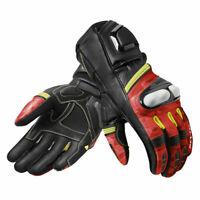 Revit League Moto Motorcycle Motorbike Leather Gloves Black / Red