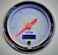"Tachometer 8K Programmable 3-3/8""/86mm RPM Blue LED light white/chrome,"