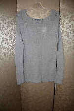 VINCE NWT Heahter Gray Metallic Semi Sheer Open Knit Tunic Sweater L