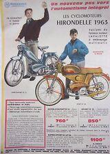 page de publicité  CYCLOMOTEURS    HIRONDELLE    en 1963 ref. 43572
