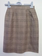 Genuine Burberry Brown Check Pattern Wool Skirt Size S UK 6 Euro 34