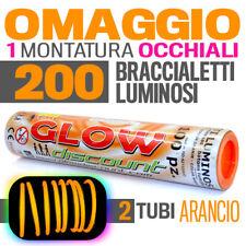 200 BRACCIALETTI LUMINOSI ARANCIONE bracciali fluo DJ starlight dj strobo  30170
