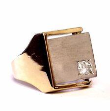 18k yellow white gold gents .23ct SI2 H diamond ring mens 14.9g art deco signet