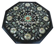 12'' Black Marble Side Coffee Table Top Pauashell Floral Inlay Decors Gift H1861