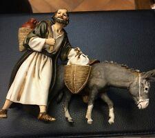 1 pastore landi 13 cm porta doni con asino presepe crib shereped