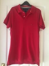 Mens Tommy Hilfiger Polo Shirt • Size Medium • Slim Fit • Red • Cotton