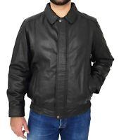 Genuine Black Leather Blouson Jacket For Gents Classic Bomber Regular Fit Coat