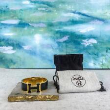$740 HERMES Clic Clac Gold Plated Black Enamel Cuff Bracelet GM Clasp Bangle