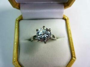Vintage SOLID SILVER & PASTE DIAMOND Gemstone SOLITAIRE RING!