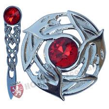 """Nœud Celtique Broche Kilt Chrome 4 """"/ Écossais Mouche Plaid Pierre Rouge Serpent"""