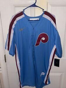 NWT Nike Men's Philadelphia Phillies Bryce Harper Size L Blue Stitched Jersey #3