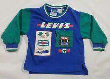 Vintage Little Levi's Toddler Boys Long Sleeve Shirt Race Car Blue & Green 3-t