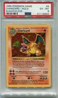 Pokemon Card Shadowless Unlimited Charizard Base Set 4/102, PSA 6 Excellent-Mint