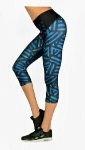 Under Armour Womens UA HeatGear Leggings Compression Capri Blue Black Small NWT