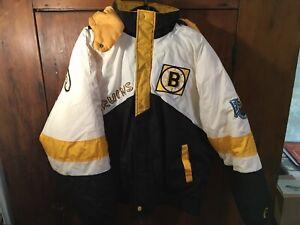 Vtg Pro Player Daniel Young NHL Boston Bruins Hooded Winter Jacket Parka XL