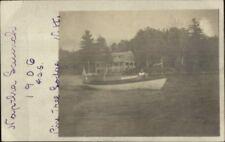 Misrror Lake NH 1906 Cancel Small Boat Launch Naptha 1906 Real Photo Postcard