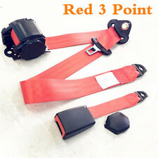 Automatic Retractable Red 3 Point Car Front Seat Belt Buckle Kit Safety Straps
