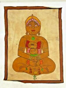 VINTAGE CANVAS ON HANDWRITTEN HINDU RELIGIOUS MANUSCRIPT WITH PAINTING, YANTRA
