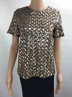 Bar III Short Sleeve Party Sequin Top Shirt Women's Gold GENEVA S SMALL NWT