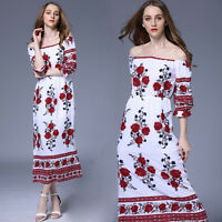 Women's Casual Off Shoulder Boho Floral Split Long Maxi Summer Party Beac_Gift