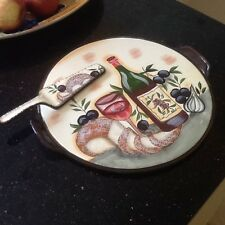 Decorative Ceramic Round Serving Plate with Handles and Ceramic Server