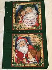 CHRISTMAS FABRIC PANEL 2 PILLOW TOPS OLD WORLD SANTA AND CHILDREN
