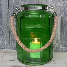 XL Windlicht Glas grün maritim mit Kordel 27cm groß Laterne Garten Deko Vase NEU