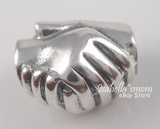 HAND SHAKE~FRIENDSHIP Sterling Silver 925 Bead European Charm NEW w POUCH!